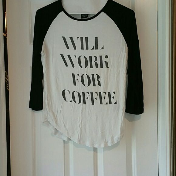 Baseball style shirt will work for coffee Black and white