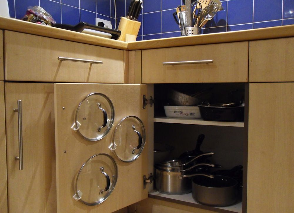 Kitchen Storage Ideas For Pots And Pans Part - 26: Minimalist Kitchen Ideas With 2 Shelves Pot Pan Cabinet Organizer, And Wire  Pan Lid Holsters. Kitchen Appliance, Pot And Pan Organizer.