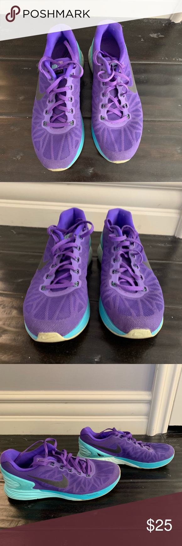 competitive price fe1c2 63c69 Nike lunarglide 6 size 9 Purple and mint green Nike lunarglide tennis  shoes. Worn a bunch but still in okay condition some scratches and a little  dirty.