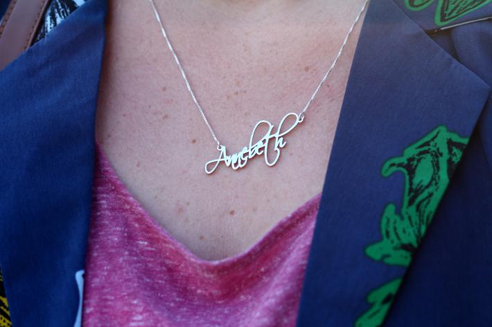 silver name necklace