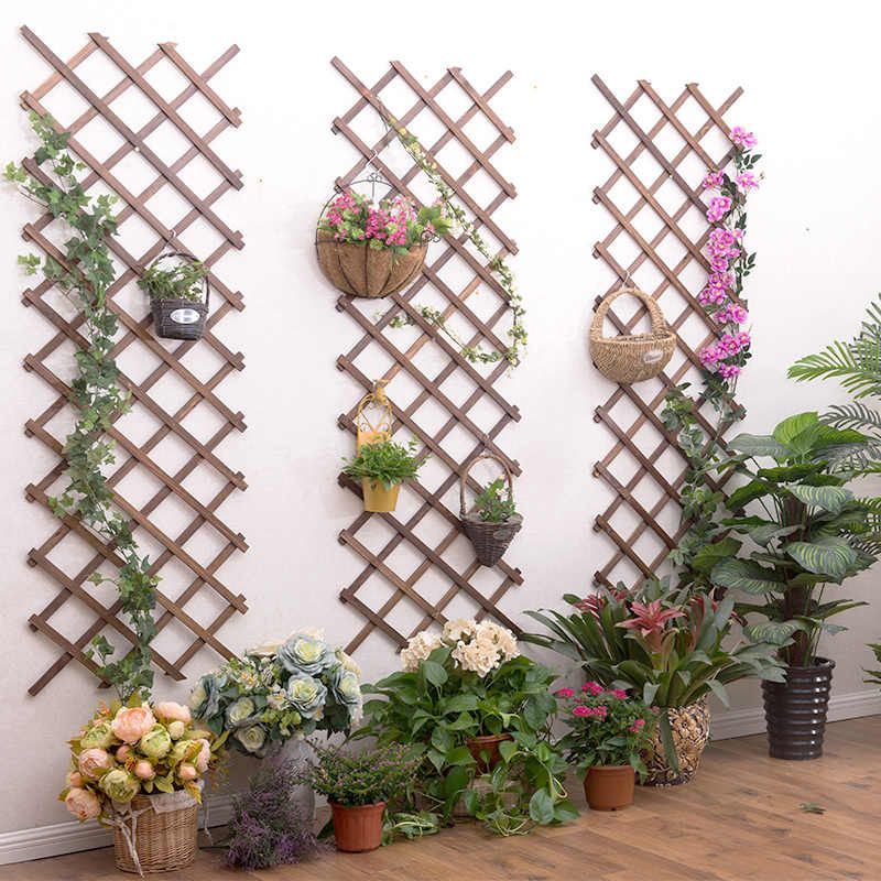 Anticorrosive Wood Grid Wall Flower Stand Balcony Wall Hanging Green Dill Wall Hanging Plant Stand Solid Wood Hanging In 2020 Flower Stands Fence Decor Hanging Plants