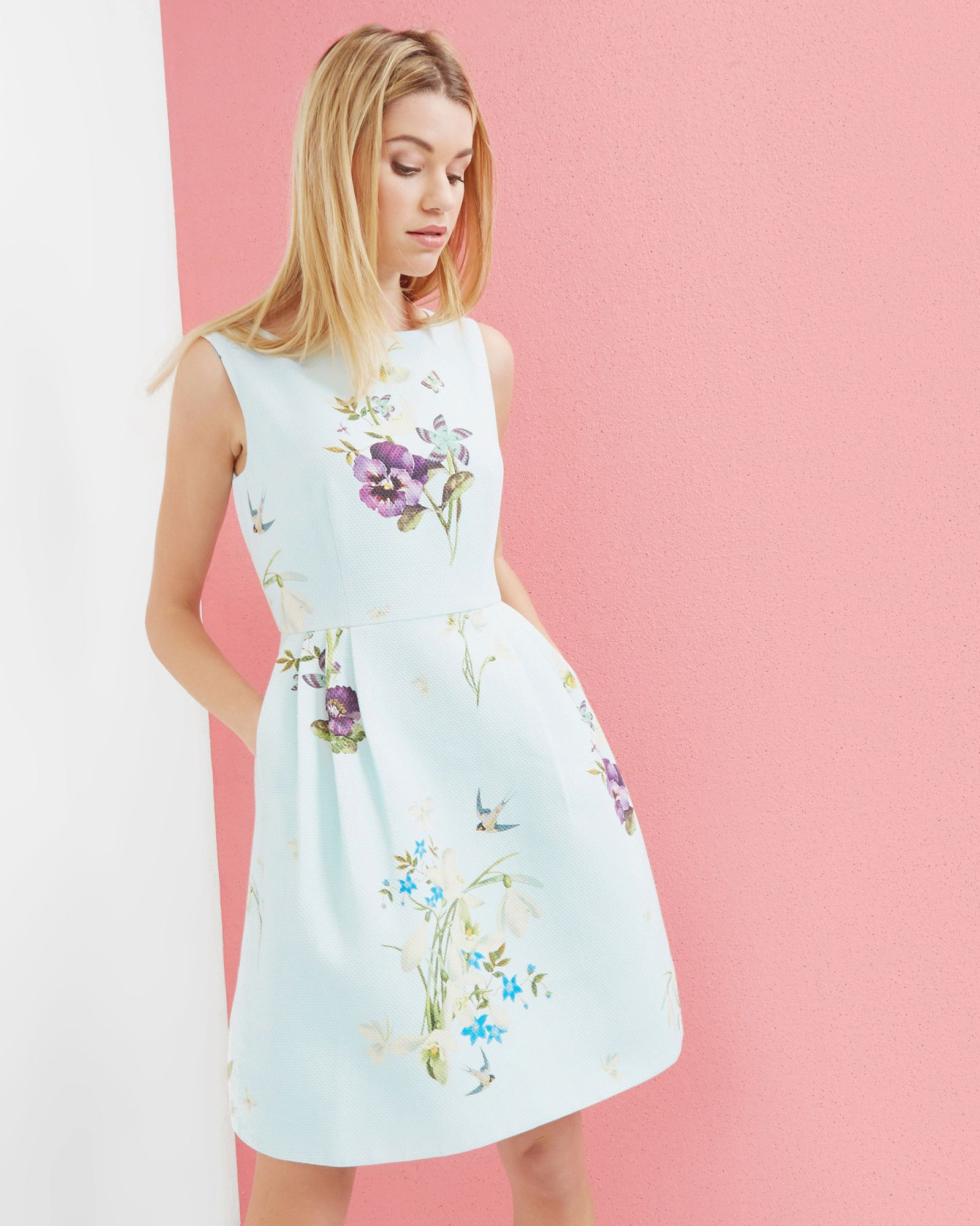 Spring Meadow woven skater dress - Baby Blue | Dresses | Ted Baker ...