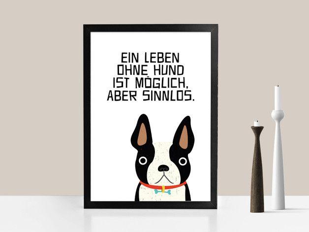 Originaldruck - Kunstdruck LEBEN OHNE HUND   von PrintsEisenherz via DaWanda.com