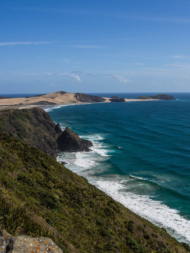 One of the many stunning coasts you will see when you follow this driving itinerary to the top of New Zealand from Auckland to Cape Reinga.