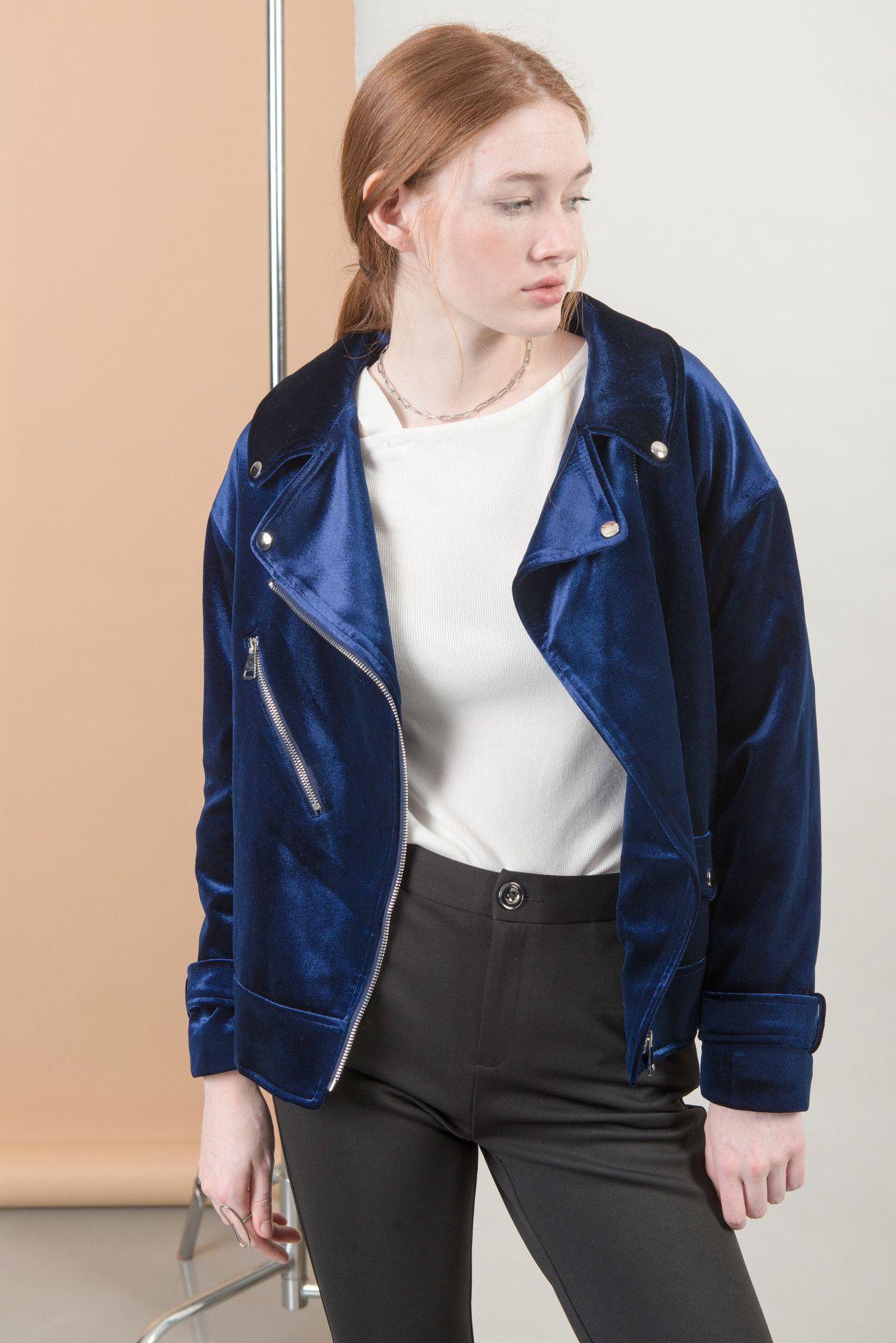 M036 Velvet biker jacket