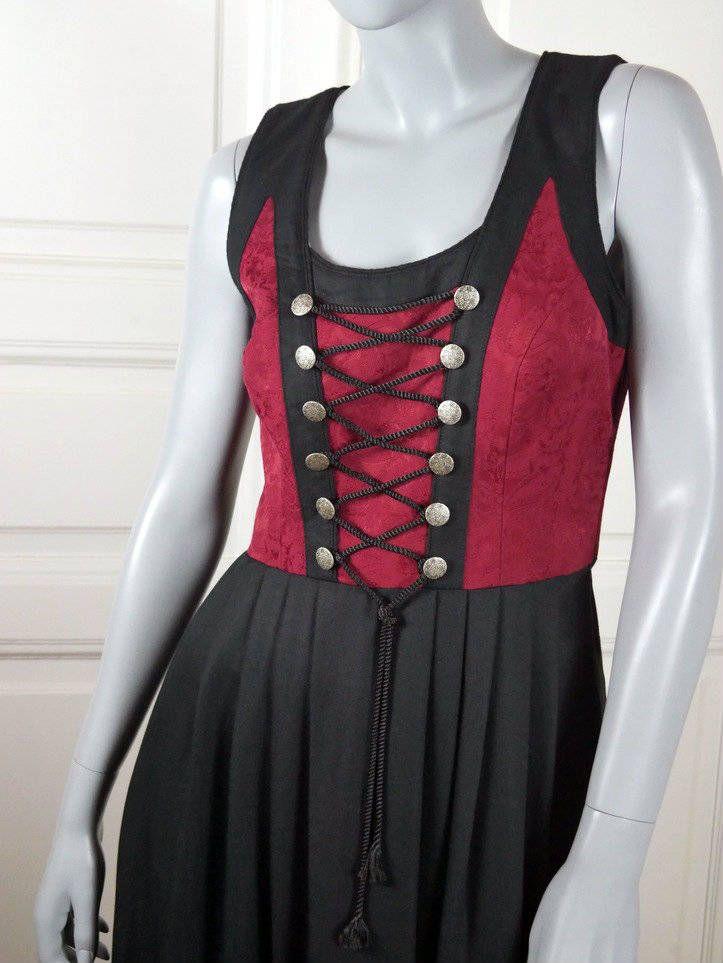 Black Gold Traditional Tyrol Octoberfest Dress Austrian Vintage Trachten Dress 10 UK German Clothing: Size 6 US