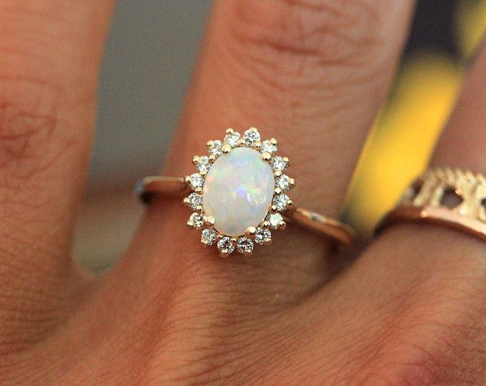 Vintage Inspired Opal Halo Ring In 10k Yellow Gold Opal Engagement Ring October Birthstone Ring Oval Gemstone Ring Ready To Ship Size 7 Engagement Rings Opal Vintage Opal Engagement Ring Yellow