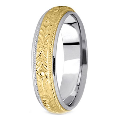 Two Tone 14K White Yellow Gold 5 Mm Mens Engraved Milligrained Wedding Band