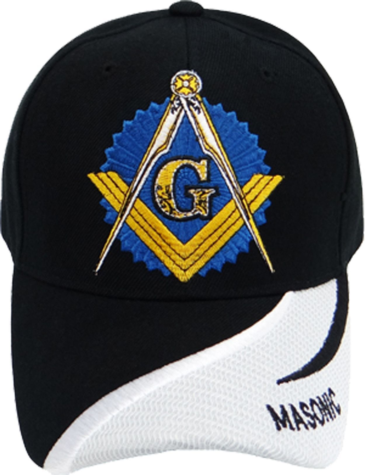 930f44c099d84 Mason Hat Black and White Baseball Cap with Master Masonic Logo Freemasons  Shriners Prince Hall Lodge Headwear