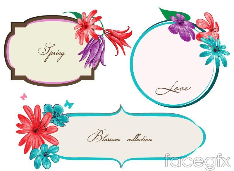 vintage flowers border vector marcos y ornamentos