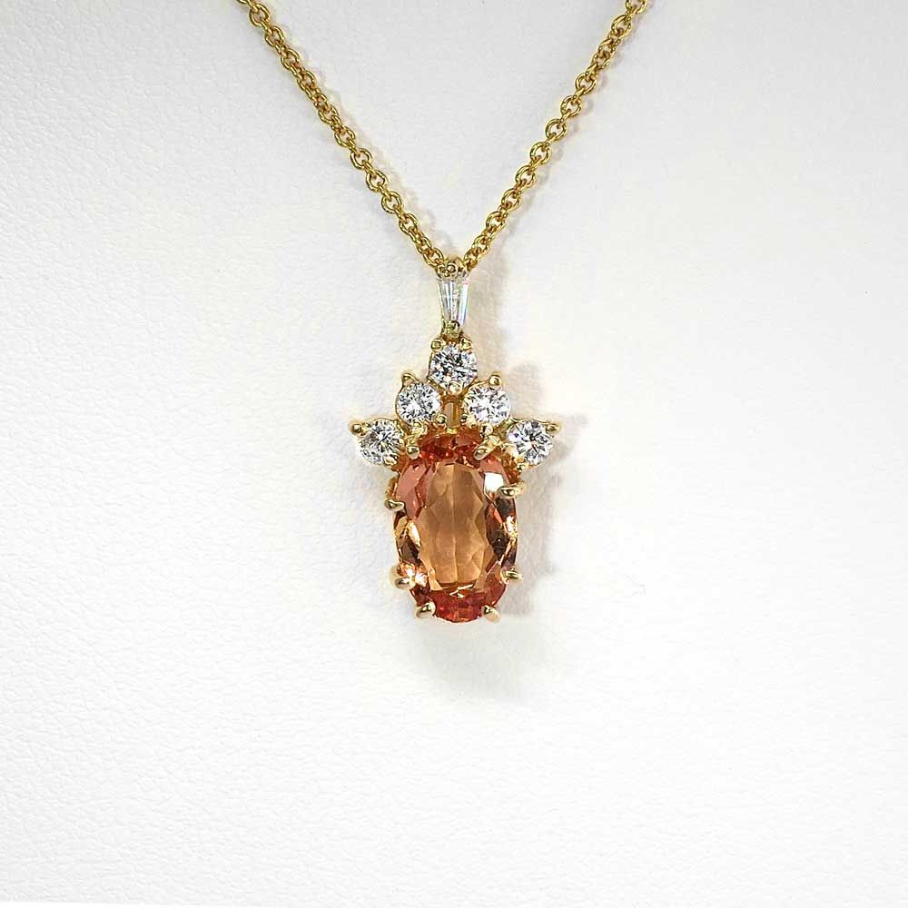 Beautiful Timeless 2.5ct Imperial Topaz & Diamond Pendant Necklace 14k/18k | Antique & Estate Jewelry | Jewelry Finds