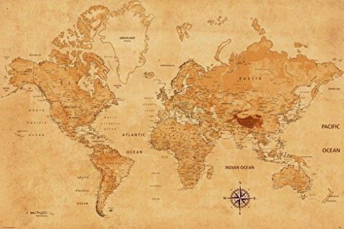 World map poster parchment ancient texture rare hot new 24x36 wine will ship in a tube brand new gumiabroncs Gallery