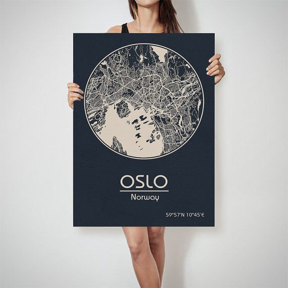 OSLO Norway Map City Street Map Art Print Poster By ArchTravel - Norway map poster