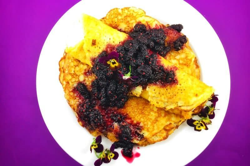 Breakfast Buttermilk Pancake Treat With Yoghurt Mulberry Sauce Recipe In 2020 Buttermilk Pancakes Buttered Vegetables Recipes