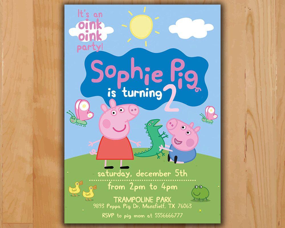 Peppa Pig Invitation - Peppa Pig Birthday Invitation - Peppa Pig ...