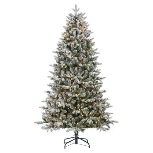 Sterling Mountain Fir Medium Pre-lit Flocked Christmas Tree, White