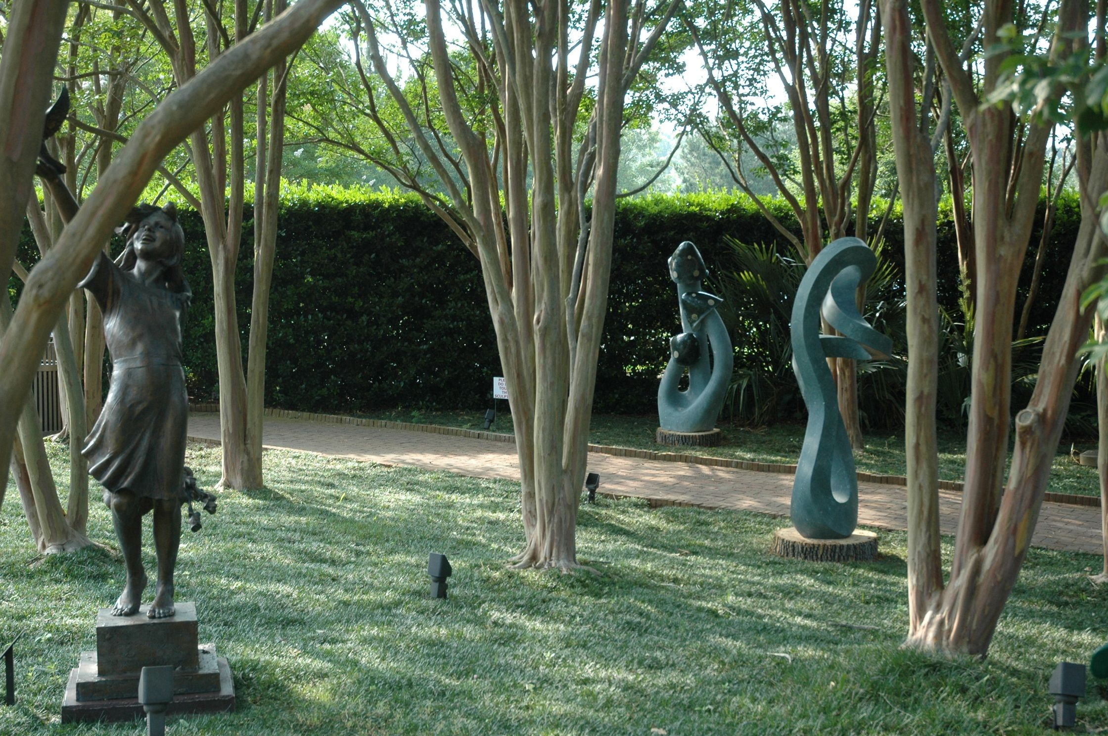 These carved stone sculptures -- near a permanent sculpture in the ...