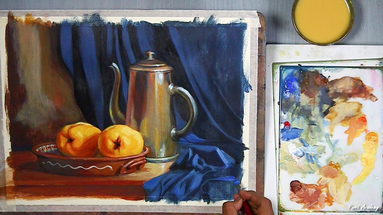 Realistic Still Life In Acrylic Step By Step Painting Youtube