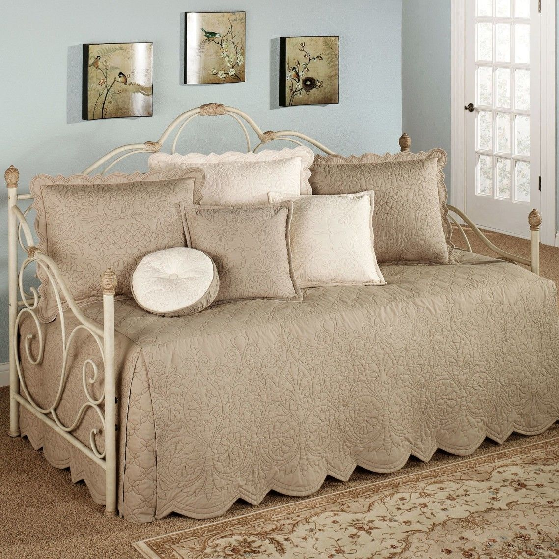 - Ornate Dark Grey Bed Sheets And Pillow Case Mixed Cream Cushions