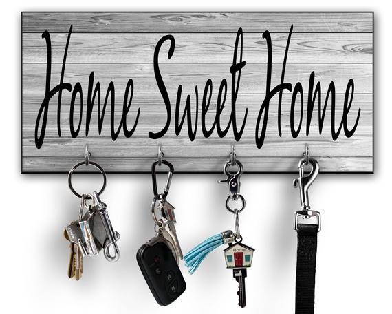 Home Sweet Home Sign Key Holder Key Hooks Key Holder For Wall Wall Key Holder Personalized Wall Key Holder Home Signs Personalized Key Holder