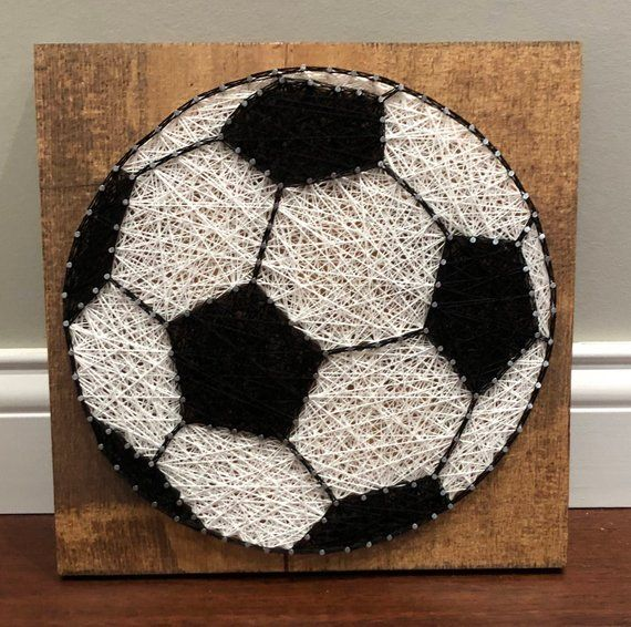 11 X Inch Soccer Ball String Art Perfect For Hanging On A Wall With Included Picture Hook Or Prop Shelf Item Will Be Made After Ordered
