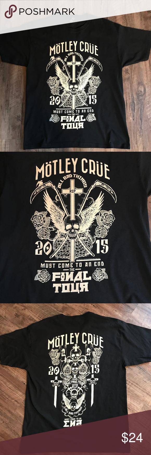 Motley Crue Final Concert Tour 2015 T Shirt L Motley Crue Motley Shirts