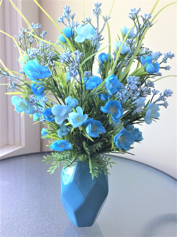Blue Wildflower Flower Arrangement Artificial Flower Decor Silk