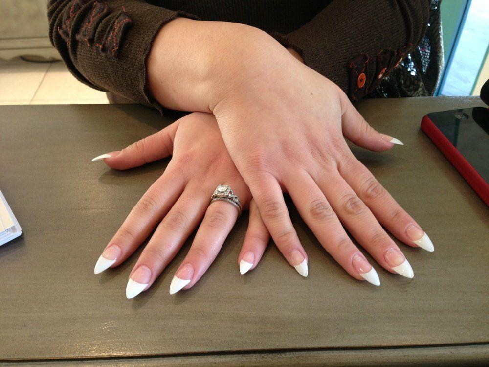Stiletto French Tip Nails - http://www.mycutenails.xyz/stiletto ...