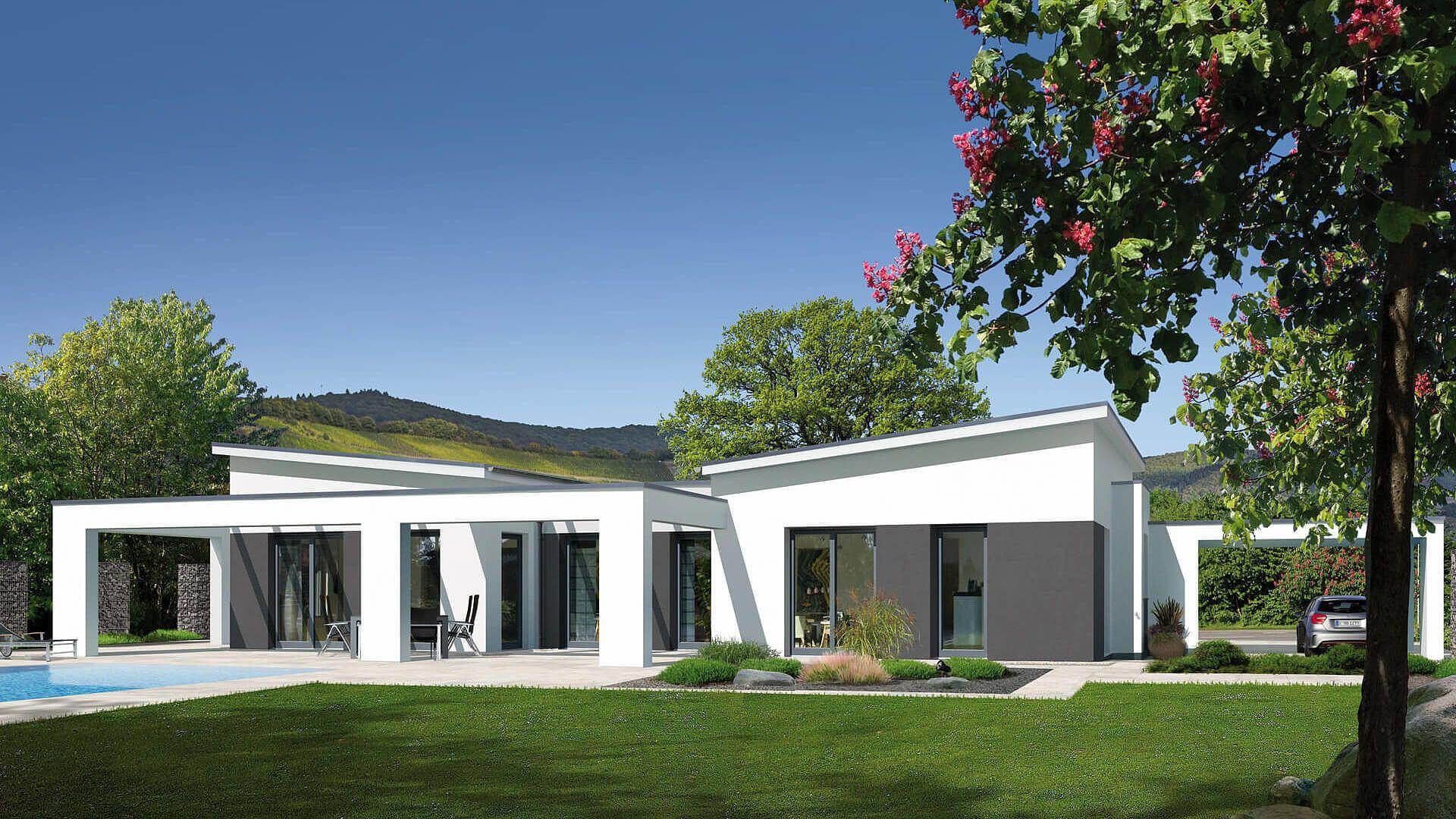 Fingerhut Bungalow Einfamilienhaus Flachdach weiß verputzt
