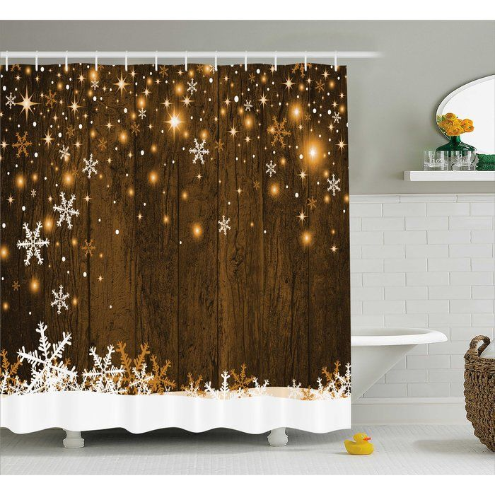 Barker Wood And Snowflakes Shower Curtain Tree Curtains Sets Christmas
