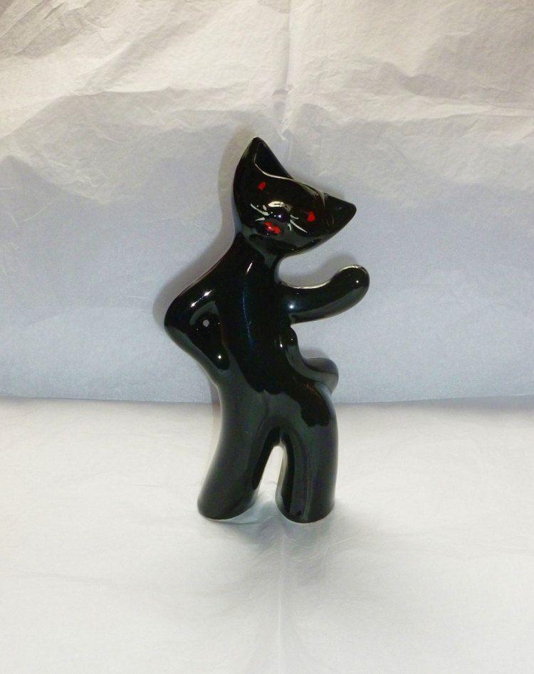 Vintage Ceramic Cat Black Pottery Ornament by Felinethropy on Etsy