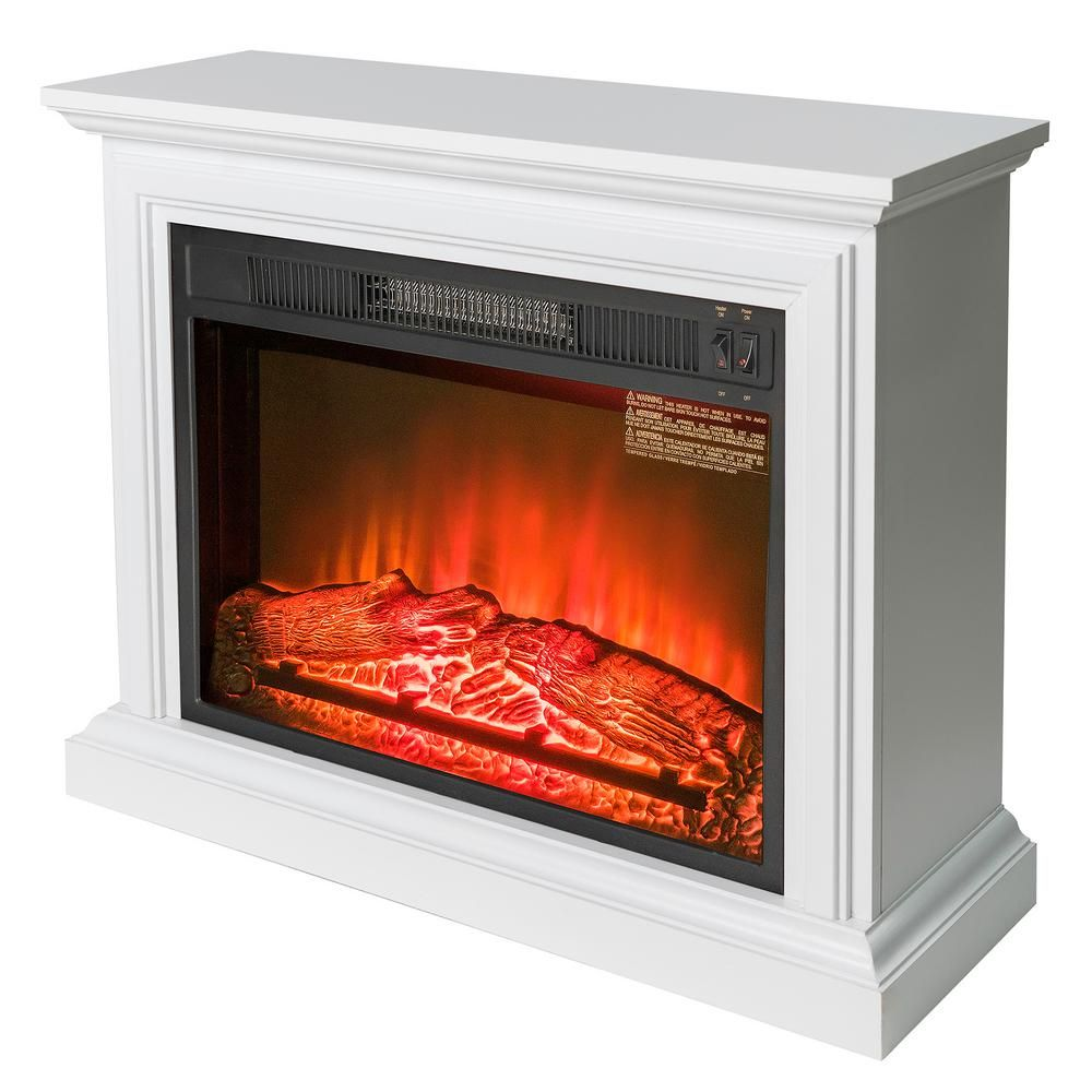 Akdy 31 In Freestanding Electric Fireplace Heater In White With Wooden Mantel Fp0090 The Home Depot Wooden Mantel Built In Electric Fireplace Fireplace