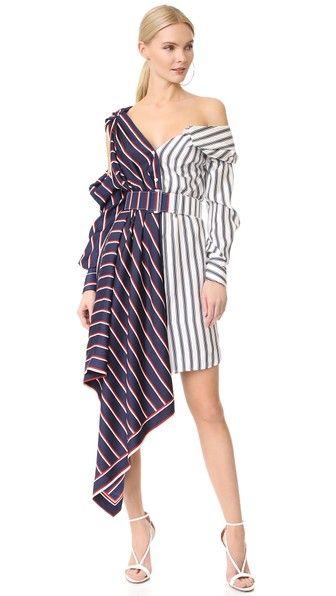 ed1fefc93d MONSE One Shoulder Striped Dress. #monse #cloth #dress #top #shirt #sweater  #skirt #beachwear #activewear