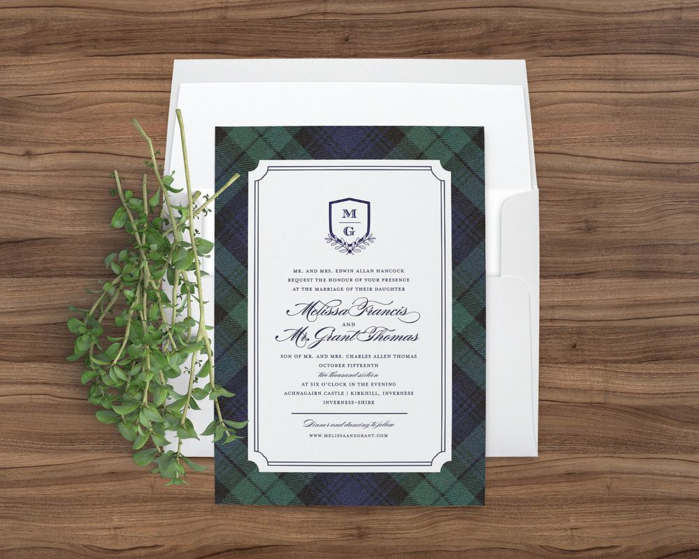 Blackwatch Tartan wedding invitations in navy blue and hunter green ...