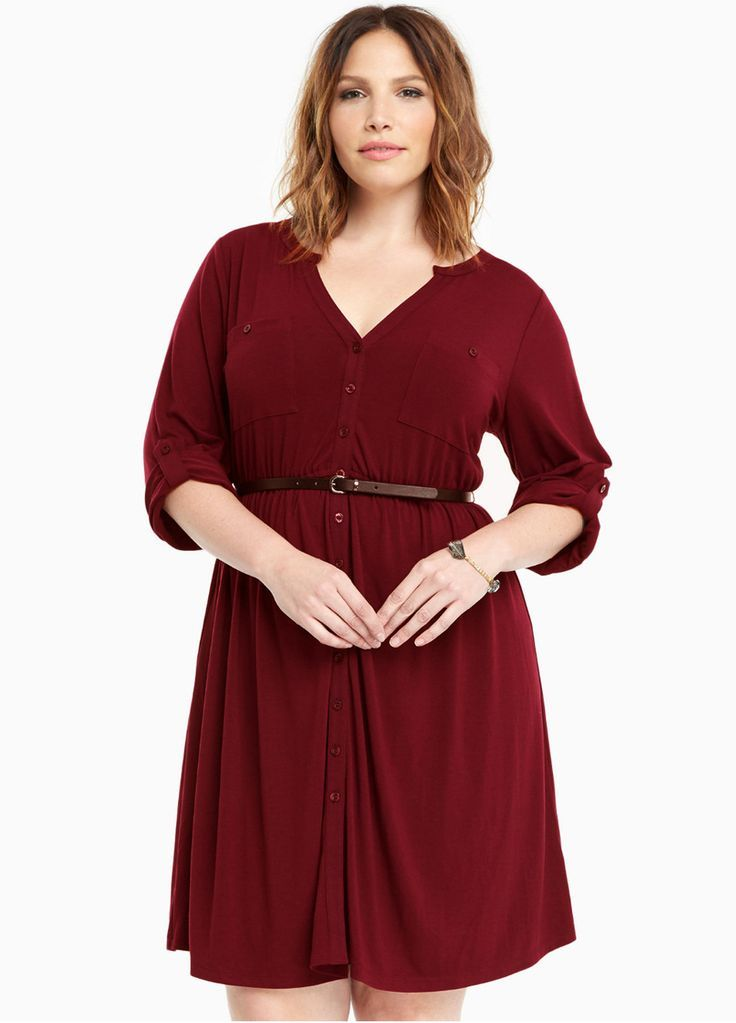 V Neck Button Down Plus Size Dress With Beltplus Size Dressplus