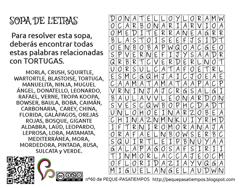 Una Sopa De Letras Relacionada Con Tortugas Solucion En El Nº60 De Peque Pastiempos Sopa De Letras Actividades De Lectura Letras Para Imprimir