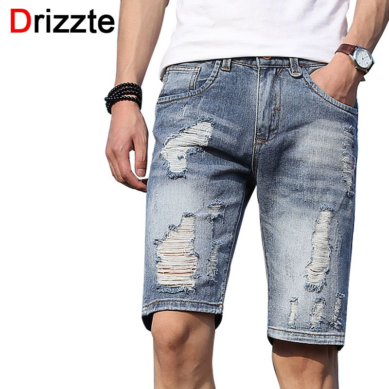 Drizzte Mens Shorts Lightweight Denim Distress Ripped Jeans Short ...
