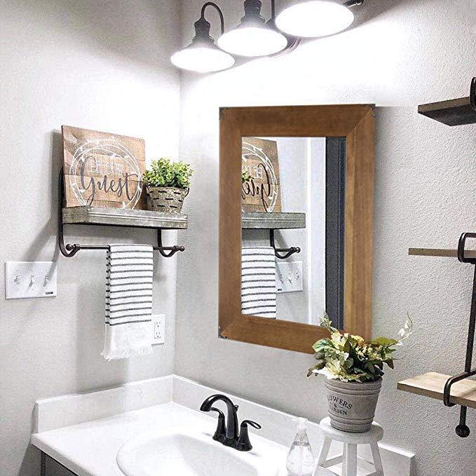Rustic Wood Frame Wall Mirror, Vanity Mirror