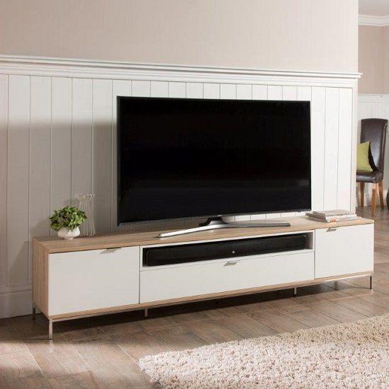 Incredible Nelson Wooden Tv Cabinet Large In White And Light Oak Tv Creativecarmelina Interior Chair Design Creativecarmelinacom