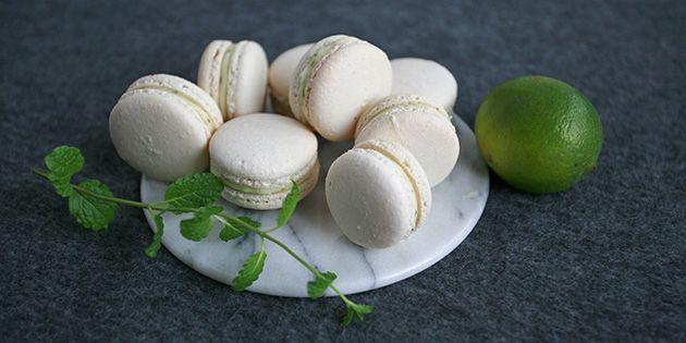 Fantastiske macarons med smag af yndlingsdrinken mojito - det er da lækkert!