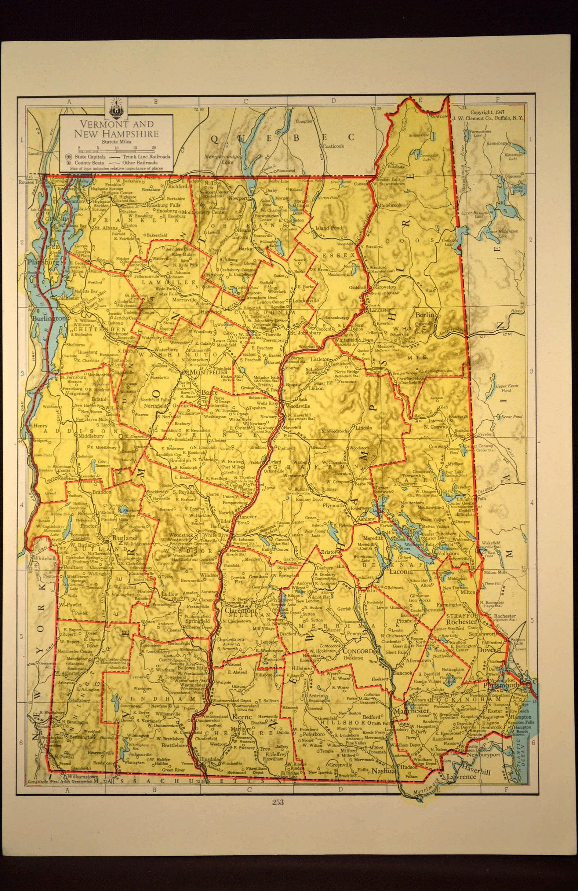 Colorful Yellow Vintage New Hampshire Map Vermont Wall Art | Map ...
