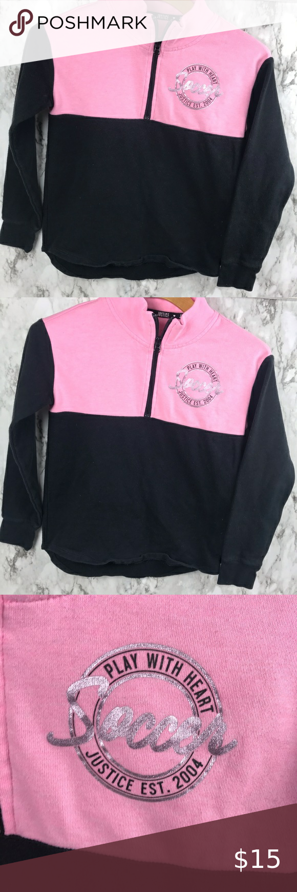 """Justice Active Soccer Fleece Top Size Youth 12 Size 12 Pit to pit 16"""" Length is 23"""" Some normal Fade #010 Justice Shirts & Tops Sweatshirts & Hoodies"""