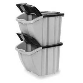 Suncast BH1888102PK 18 Gallon Stacking Hopper Bin Gray wBlack Lid