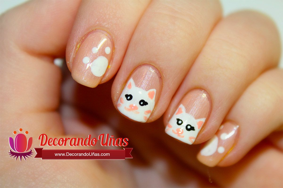 uas decoradas con gatito u video paso a paso decoracin de uas manicura y