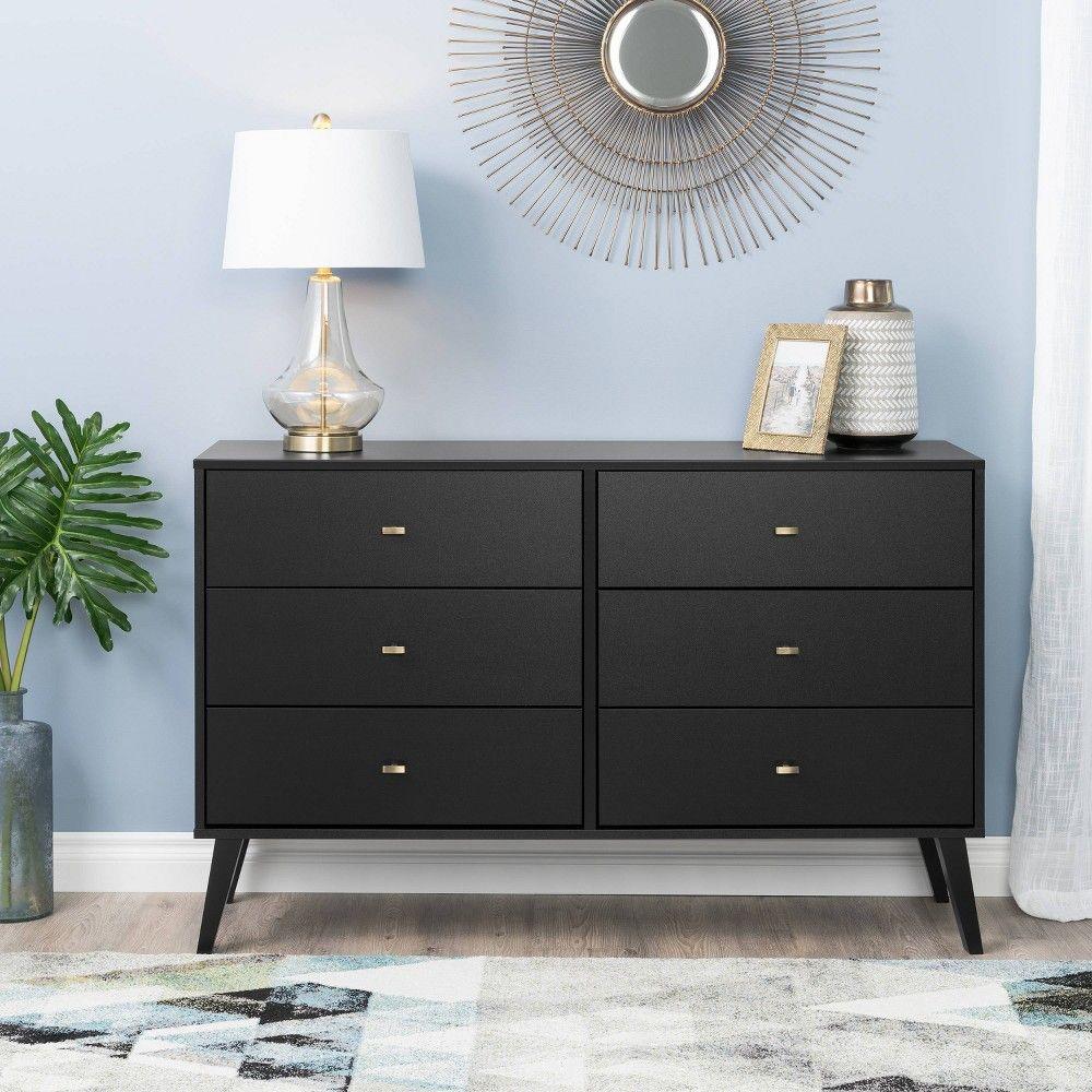 Mid Century Modern 6 Drawer Dresser Black Prepac Mid Century Modern Dresser Modern Dresser Furniture