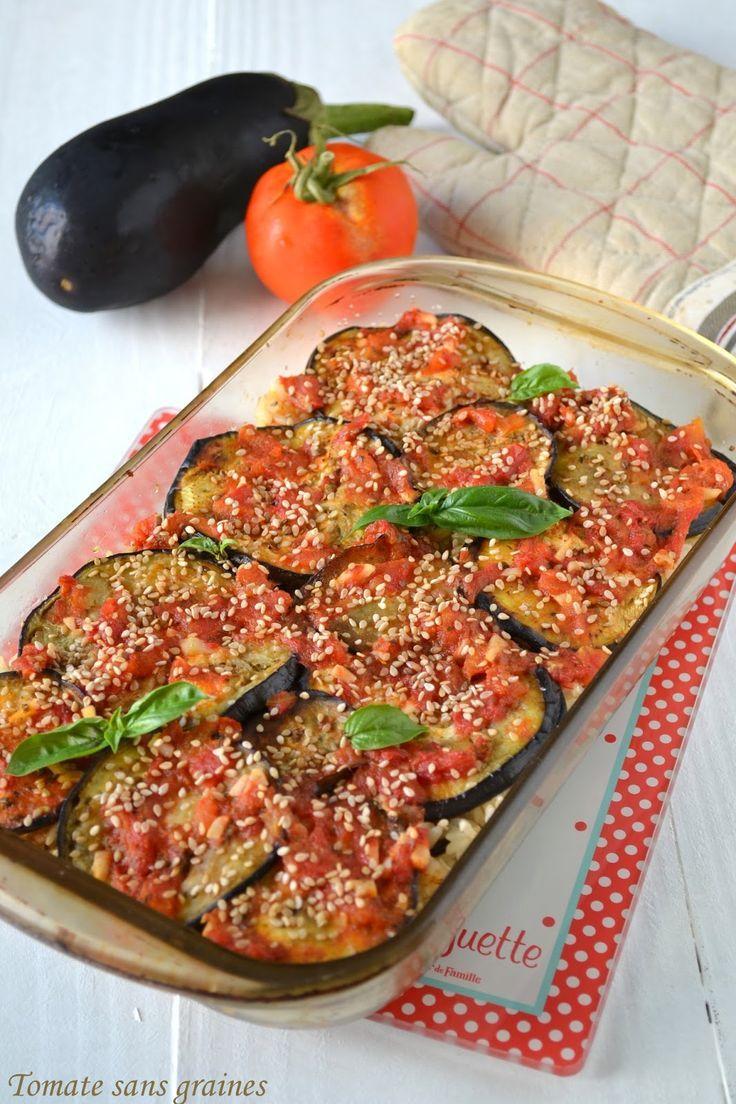 Gratin d 39 aubergines au riz complet tomate sans graines for Repas sans cuisiner