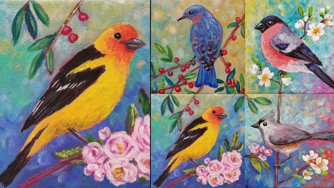 Easy Bird Acrylic Painting Tutorial Western Tanager Songbird Series Painting Tutorial Bird Painting Acrylic Love Birds Painting