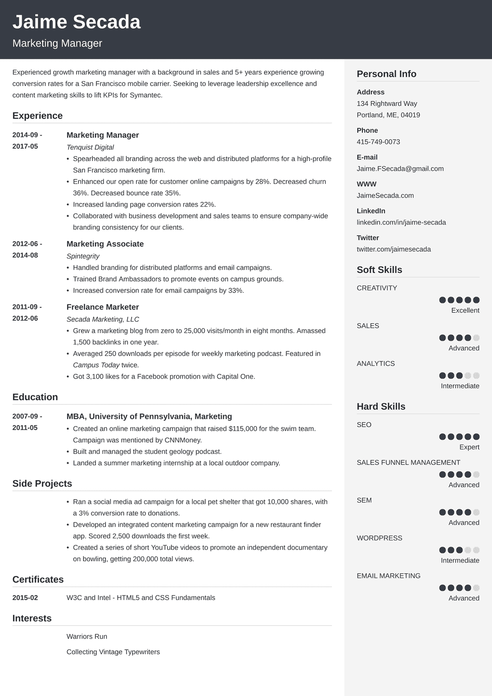 marketing resume template cubic in 2020 Marketing resume