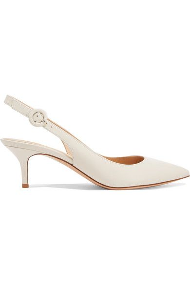 4ab26ef72bf Gianvito Rossi - Anna 55 Leather Slingback Pumps - White
