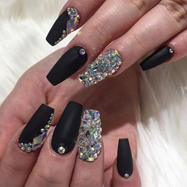 Black Diamond Coffin Nail Art Rhinestone Nails Diamond Nails Diamond Nail Designs